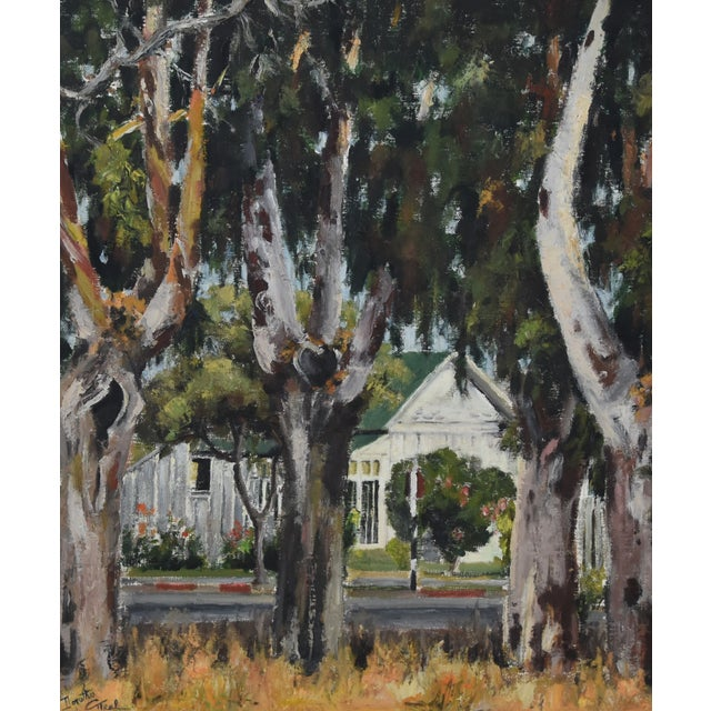 Abstract 1950s Dorothy Neal, Cottage and Grove of Trees Landscape Oil Painting For Sale - Image 3 of 11