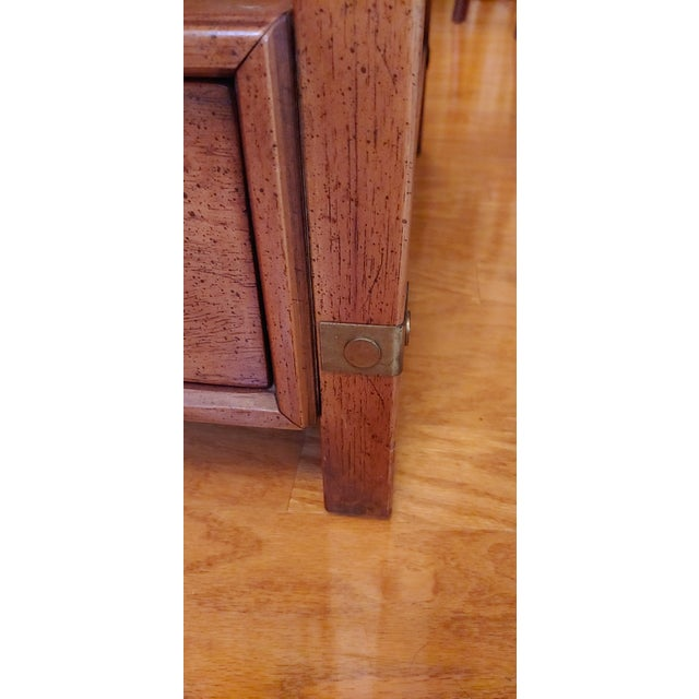 Vintage Henredon Wood + Brass End Tables - a Pair For Sale - Image 12 of 13