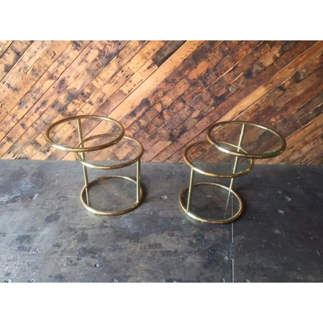 Gold Vintage Swivel Brass Glass Side Tables - A Pair For Sale - Image 8 of 8