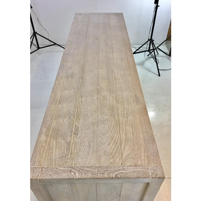 Studio A Home Studio a Modern White Washed Driftwood Lattice Credenza For Sale - Image 4 of 6