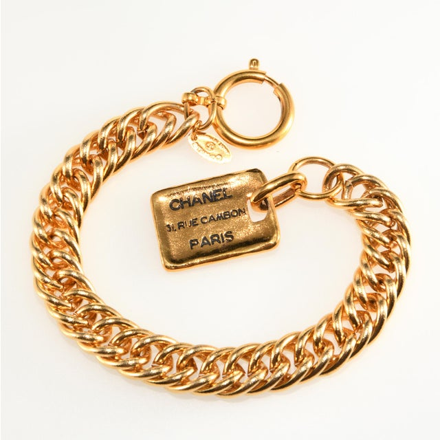 1980s Chanel Gold Colored Bracelet Rue Cambon Tag Charm For Sale - Image 5 of 5