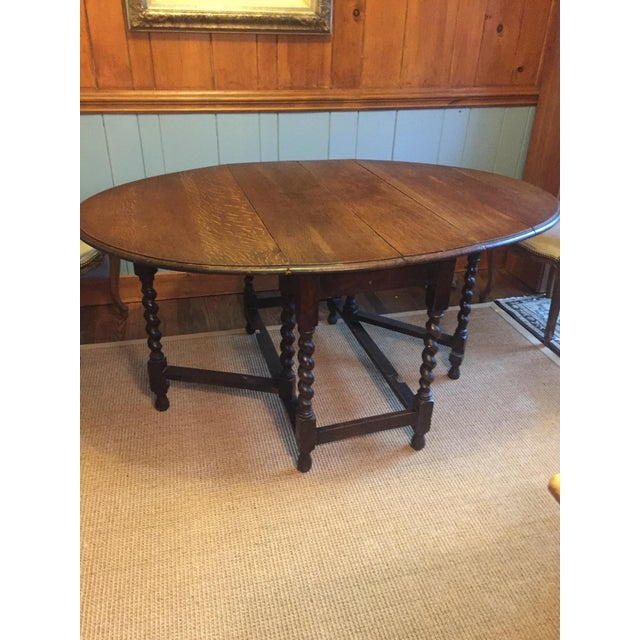 Mid 19th Century Barley Twist Leg, Drop Leaf Oval Dark Oak Dining Table For Sale - Image 5 of 13