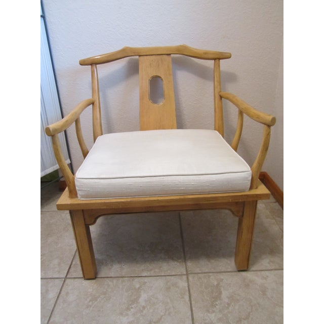 Vintage Chinese Chippendale Style Chinoiserie Blonde Wood Chair - Image 2 of 11