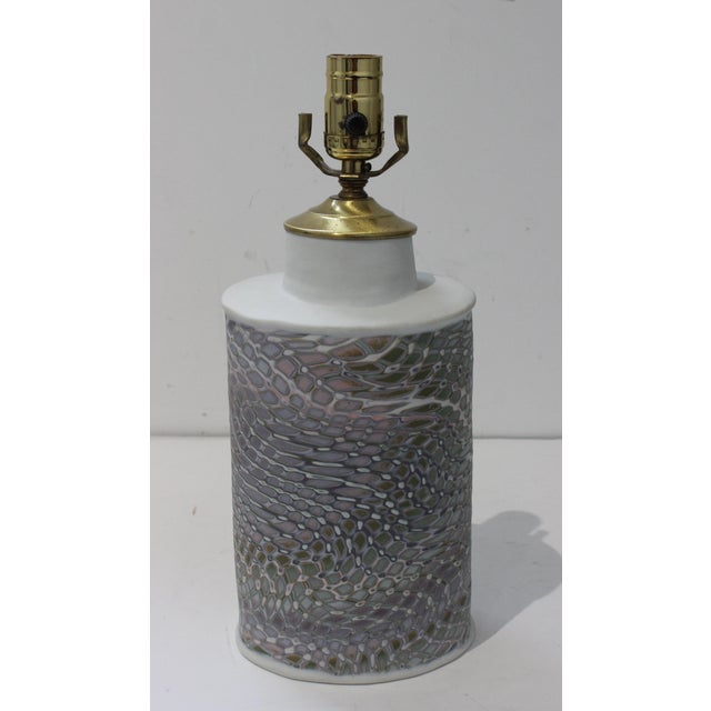 Vintage Artisan Table Lamp With Feathered Violet Hue Pattern For Sale - Image 10 of 10