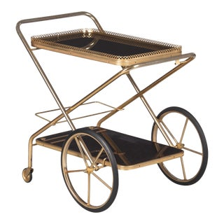 1980s French Rosewood and Brass Folding Bar Cart For Sale