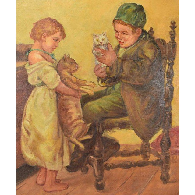 """American 1920's Large """"Brother Sister Playing W Cats"""" Oil Painting Signed Lawson For Sale - Image 3 of 6"""