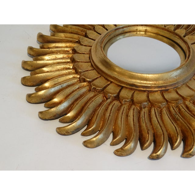 French Gilt Sunburst Convex Mirror For Sale In Houston - Image 6 of 8