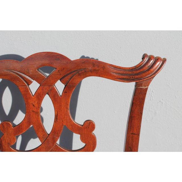 Mahogany Vintage Mid-Century Chippendale Style Carved Mahogany Occasional Chair For Sale - Image 7 of 12