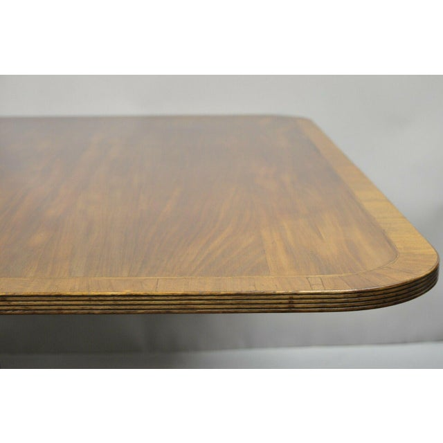 Antique Square Banded Mahogany Duncan Phyfe Dining Conference Room Table For Sale - Image 9 of 13