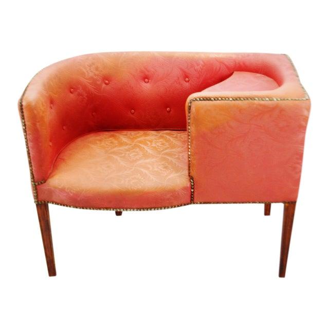 Vintage Red Jacquard Vinyl Barrel Back Gossip Bench Telephone Chair Hall Bench For Sale