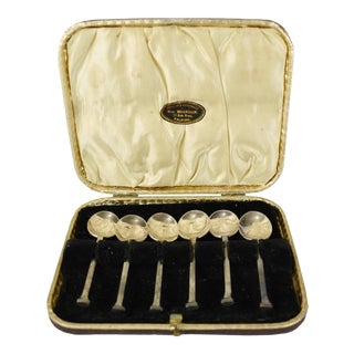 English Antique Jewelr & Silversmith Wm. Morrison Js*s Silver Plated Tea Spoons in Original Box - Set of 6 For Sale