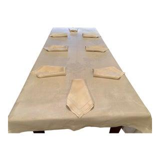 Antique European Linen Tablecloth and Napkins - 9 Piece Set For Sale