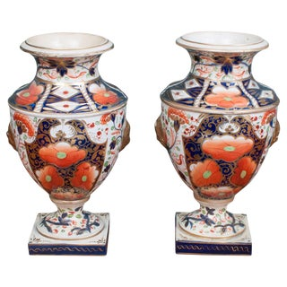 "Early 19th Century Derby Porcelain Urns in the ""Old Japan"" Pattern-a Pair For Sale"