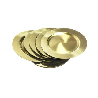 Vintage Mid Century Solid Brass Beuclér Plates - Set of 12 For Sale
