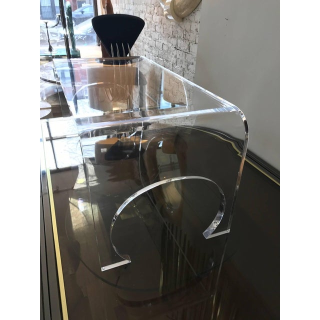 Lucite Lucite Waterfall Coffee Table in the Manner of Charles Hollis Jones For Sale - Image 7 of 11