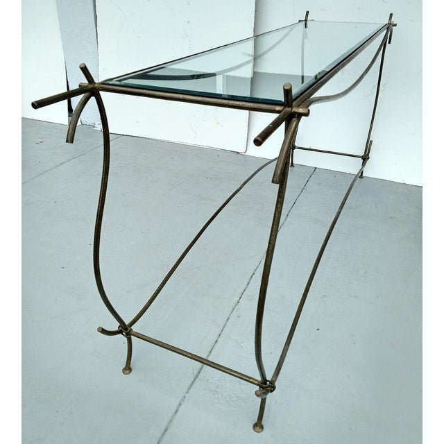 Wrought Iron and Glass Console Table, Vintage For Sale - Image 4 of 13