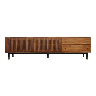 Mid-Century Modern Style Low Profile Credenza Media Cabinet For Sale