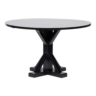 "Criss-Cross Round Table, 48"", Hand Rubbed Black For Sale"