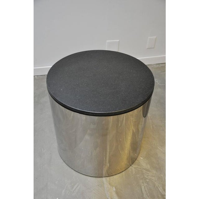 Paul Mayen Paul Mayan Stainless and Black Granite Side Tables For Sale - Image 4 of 5