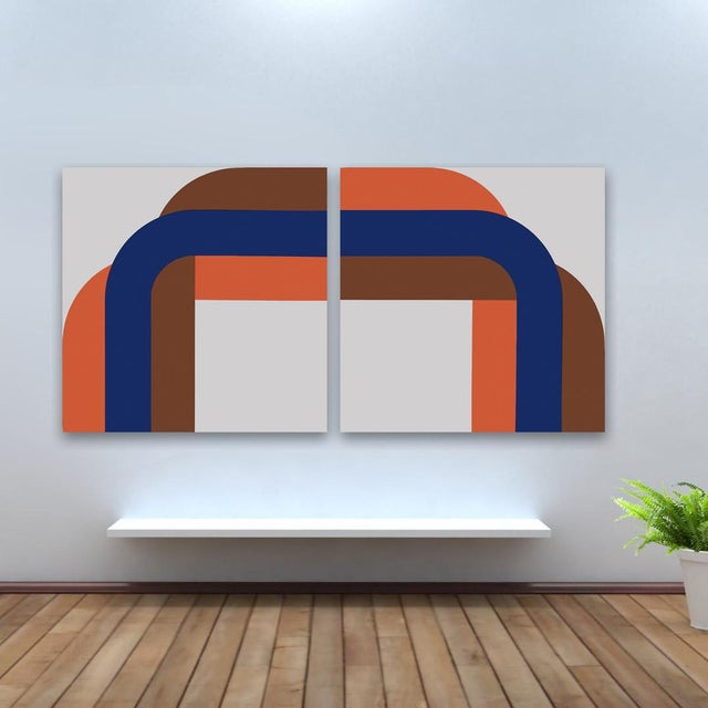 Right Angle Blue & Brown Gallery Wrap Print - Pair - Image 2 of 2