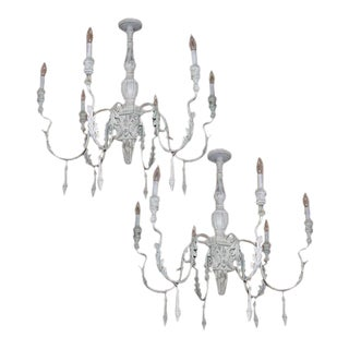 Pair of Italian Style Carved Wood and Tole Chandelier