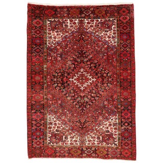 Vintage Persian Heriz Rug with Modern Style For Sale