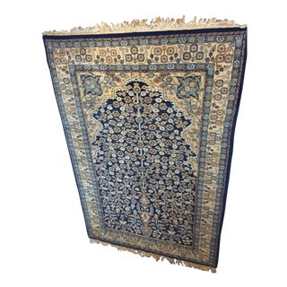 Antique Prayer Rug in Blue, Navy, Cream, and Tan - 4′2″ × 6′4″ For Sale