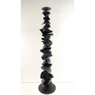Large Murano Black Glass Candlestick Preview
