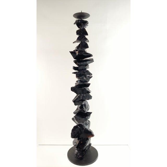 Beautiful Hand-Made Venetian Black Glass Candlestick made on the Isle of Murano by Luigi Benzoni.