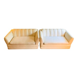 Contemporary Postmodern Ivory Channel-Back Sofas, a Pair For Sale