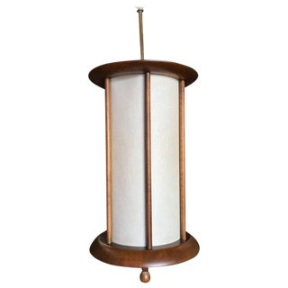 Danish Style Mid-Century Walnut Cylinder Pendant For Sale