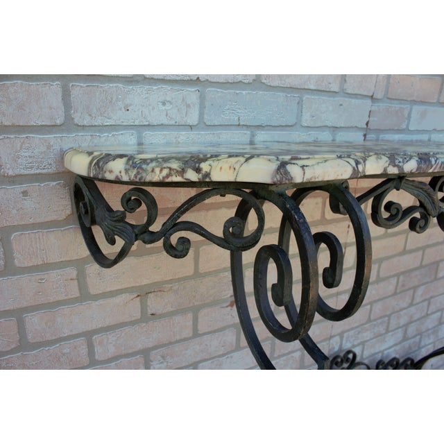 Green Antique French Victorian Wrought Iron Base Console Table For Sale - Image 8 of 13
