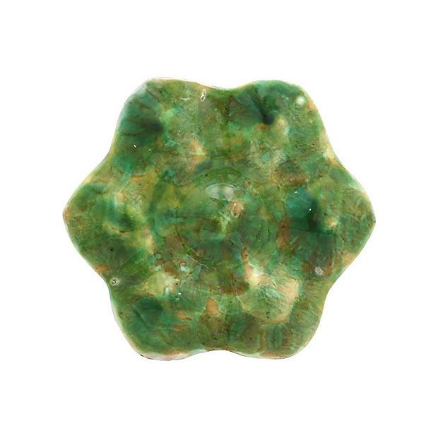 Antique English majolica oyster plate. No maker's mark. Light wear, minor crazing, minor edge wear.
