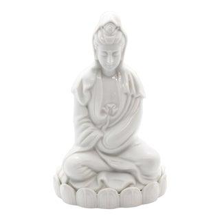 "1960's Chinoiserie ""Blanc De Chine"" Quan Yin Sitting Figurine For Sale"