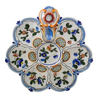 St. Clément French Faïence Blue Rim on White Floral Oyster Plate For Sale