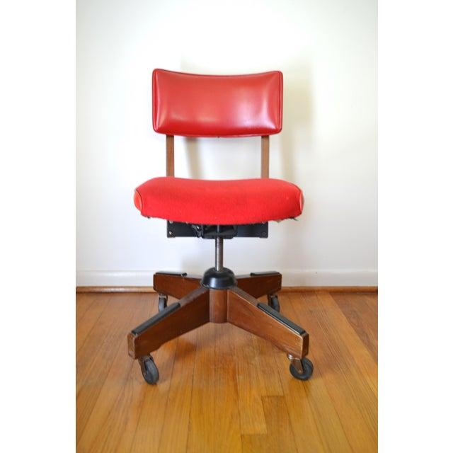 Gunlocke Red Swivel Desk Chair - Image 3 of 5