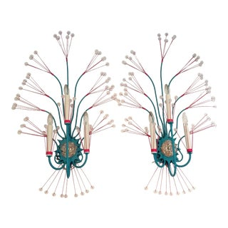 Vintage Tony Duquette Turquoise Splashing Water Wall Sconces, Turquoise / Pink - a Pair For Sale