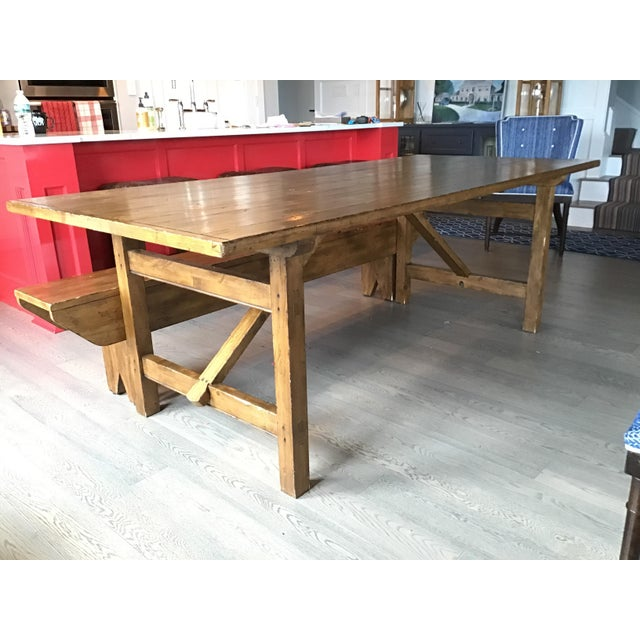 Country Pottery Barn Dining Table with Bench For Sale - Image 11 of 11