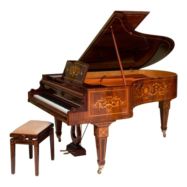 Rare and Historically Significant Marquetry Inlaid Grand Piano, Bösendorfer For Sale