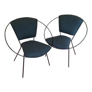1980s Modern Black Metal Orbital Frame Side Chairs - a Pair For Sale