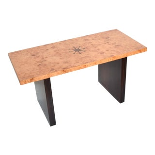 Art Deco Inlaid Burl Wood and Macassar Coffee, Side Table by Andrew Szoeke For Sale