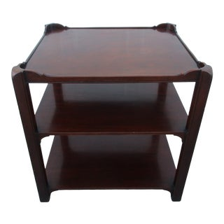 Baker Furniture Georgian Style Three-Tiered Mahogany Side Table For Sale