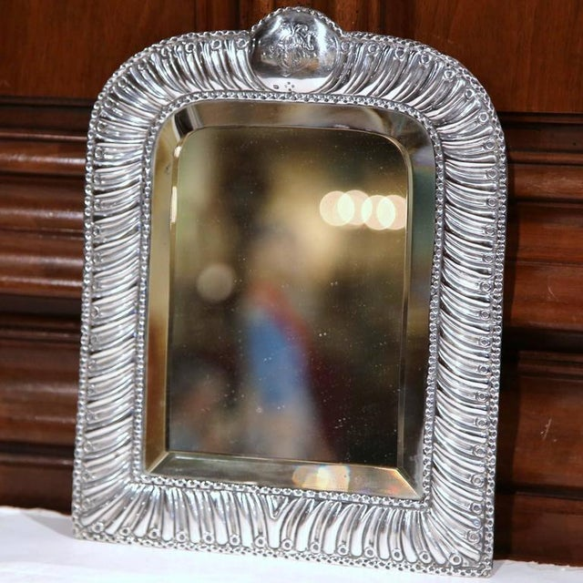 Silver 19th Century French Repousse Silver Table Frame With Beveled Glass For Sale - Image 8 of 10