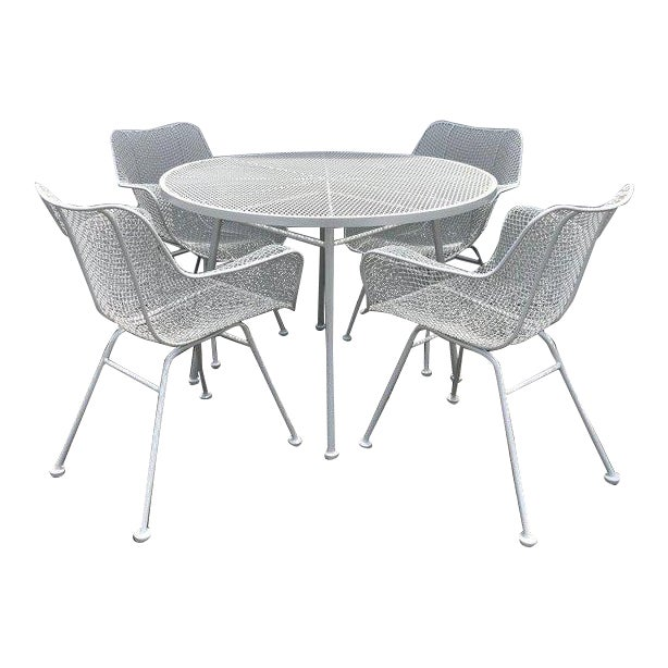 Woodard Sculptura Patio Dining Table and Chairs Set For Sale