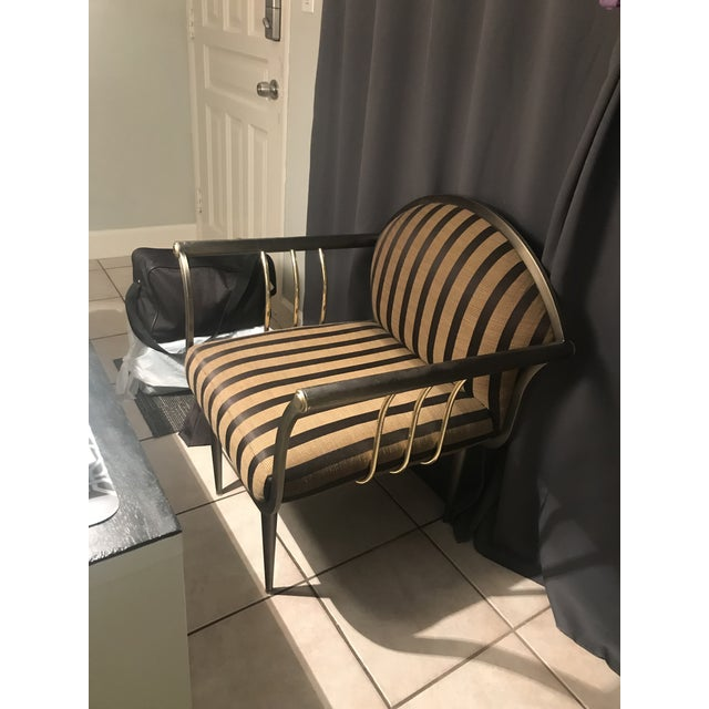 Pierre Cardin Style Gun Metal & Brass Bergere Chairs - A Pair For Sale In Miami - Image 6 of 11