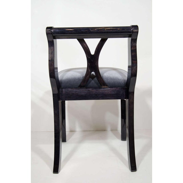 1940s Art Deco Stool With Low Back in Ebonized Walnut and Mohair For Sale - Image 5 of 9