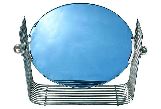Art Deco Blue Glass Amp Chrome Vanity Mirror Chairish