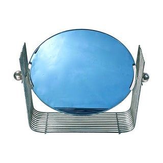 Art Deco Blue Glass & Chrome Vanity Mirror For Sale