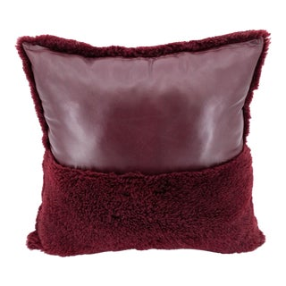Burgundy Curly Sheepskin & Leather Pillow For Sale