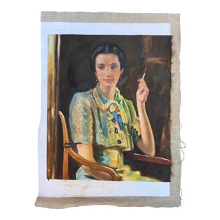 Oil Portrait Painting Woman Smoking For Sale